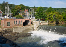 Taftsville Vermont Hydro Plant after Irene. Tropical storm Irene dumped tons of water on Vermont causing massive flooding. The hydro electric power plant in royalty free stock photo