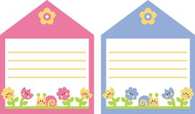 Tag. With flowers and snails Royalty Free Stock Photo