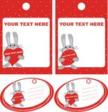 Tag. Red tag with the hares Stock Photos