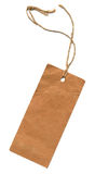 Tag. Blank paper tag tied with brown thread Stock Images