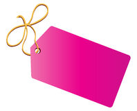 Tag. Blank tag tied with yellow string stock illustration