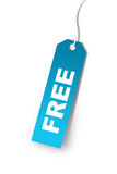 Tag azul que diz LIVRE Fotos de Stock Royalty Free