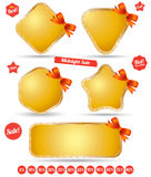 Tag banner iron with bow collection Royalty Free Stock Photo