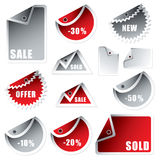 Tag bend silver red Royalty Free Stock Image