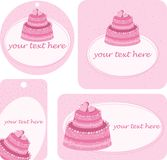 Tag with cakes. Pink tag with cakes on Valentine's Day Stock Images
