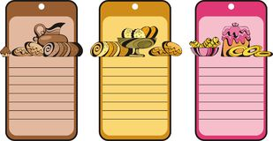 Tag with cakes. Cookies, cupcakes stock illustration