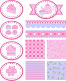 Tag with cakes and backgrounds Royalty Free Stock Image
