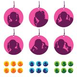 Tag with child silhouette set illustration Stock Photography
