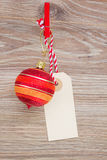 Tag with christmas ball Royalty Free Stock Image
