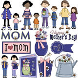 Tag Clipart 4 des Mutter Stockfoto