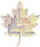 Tag cloud Autumn or Fall related in shape of leaf Royalty Free Stock Photo