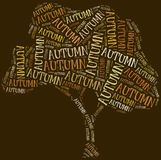 Tag cloud Autumn or Fall related in shape of tree Stock Photos