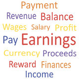 Tag cloud: Earnings with synonyms. Royalty Free Stock Photography