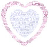 Tag cloud of father's day in double heart shape. Illustration  of an  Isolated image of tag clouds in a double heart shape related to Father's day Stock Photo