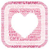 Tag cloud of father's day in heart shape in a box. Illustration  of an Isolated image of tag clouds in a heart shape inside a box related to Father's day Royalty Free Stock Image