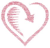 Tag cloud of father's day in a heart shape. Isolated image of tag clouds in the shape of  a heart related to Father's day Royalty Free Stock Photos