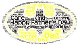Tag cloud of father's day in the shape of batman symbol Royalty Free Stock Image