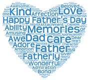 Tag cloud of father's day in the shape of blue heart Stock Photo