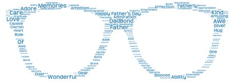 Tag cloud of father's day in the shape of glasses. Isolated image of tag clouds in the shape of glasses related to Father's day Stock Images