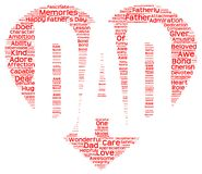 Tag cloud of father's day in the shape of red heart inscribing DAD. Isolated image of tag clouds in the shape of red heart inscribing DAD related to Father's day Stock Image