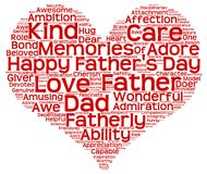 Tag cloud of father's day in the shape of red heart. Isolated image of tag clouds in the shape of red heart related to Father's day Stock Photos
