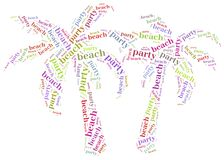 Tag cloud illustration related to beach party. Stock Photography