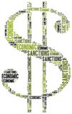 Tag cloud illustration related to economic sanctions Stock Image