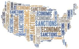 Tag cloud illustration related to economic sanctions Royalty Free Stock Images