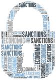 Tag cloud illustration related to economic sanctions Stock Photography