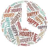 Tag cloud illustration related to happy hours Stock Images