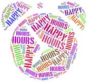 Tag cloud illustration related to happy hours Royalty Free Stock Images