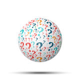 Tag cloud sphere Question, isolated on white background. For your design Royalty Free Stock Photo