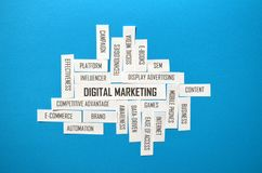 DIGITAL MARKETING paper tag cloud on blue background royalty free stock photography