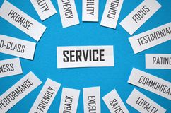 Close-up of SERVICE paper tag cloud on blue background royalty free stock images