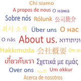 Tag cloud About us in different languages. Stock Photos