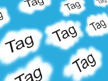 Tag clouds. Illustration of internet tag clouds with blue sky background royalty free illustration