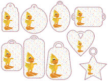 Tag collection with cute 3D ducks Stock Images