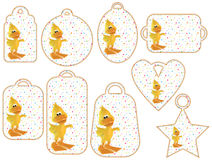Tag collection with cute 3D ducks Royalty Free Stock Images