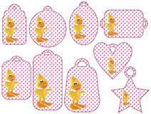 Tag collection with cute 3D ducks Royalty Free Stock Photo