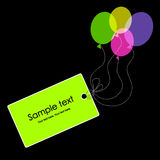 Tag with colorful balloons. Greeting card Royalty Free Stock Image
