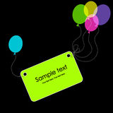 Tag with colorful balloons. Greeting card Royalty Free Stock Photo