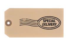 Tag da entrega especial. Foto de Stock