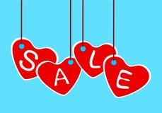 Tag da forma do coração da venda, ilustração do vetor Imagens de Stock