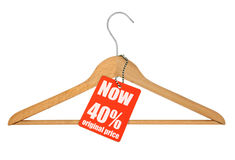 Tag da venda do gancho de revestimento no branco Foto de Stock Royalty Free