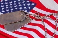 Tag de cão na bandeira americana Fotos de Stock