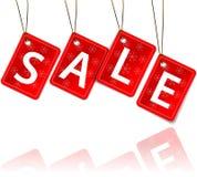 Tag de suspensão vermelhos com a venda da palavra Imagem de Stock