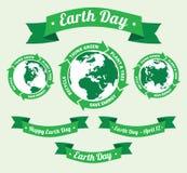 Tag der Erde-Ausweis und Retrostilfahne Lizenzfreies Stockfoto