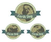 Tag der Erde badget - retten Sie den Planeten Lizenzfreie Stockbilder