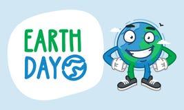 Tag der Erde-Erdcharakter-Händchenhalten auf Taille und dem Lächeln Stockfotos