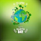 Tag der Erde-Hintergrund für Umweltsymbole auf sauberer Erde Stockfotos